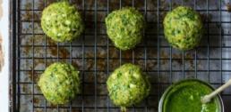 Recipe of the Week - Spanakopita Chicken Meatballs with Spinach Pesto