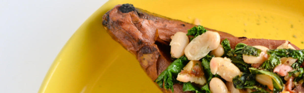 WI Whisk Recipe of the Week - Sweet Potatoes Stuffed with Kale and Beans